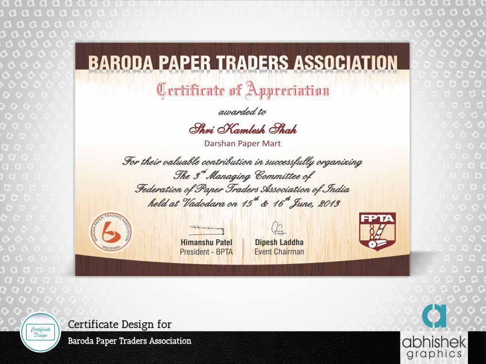 Certificate Design for Baroda, India
