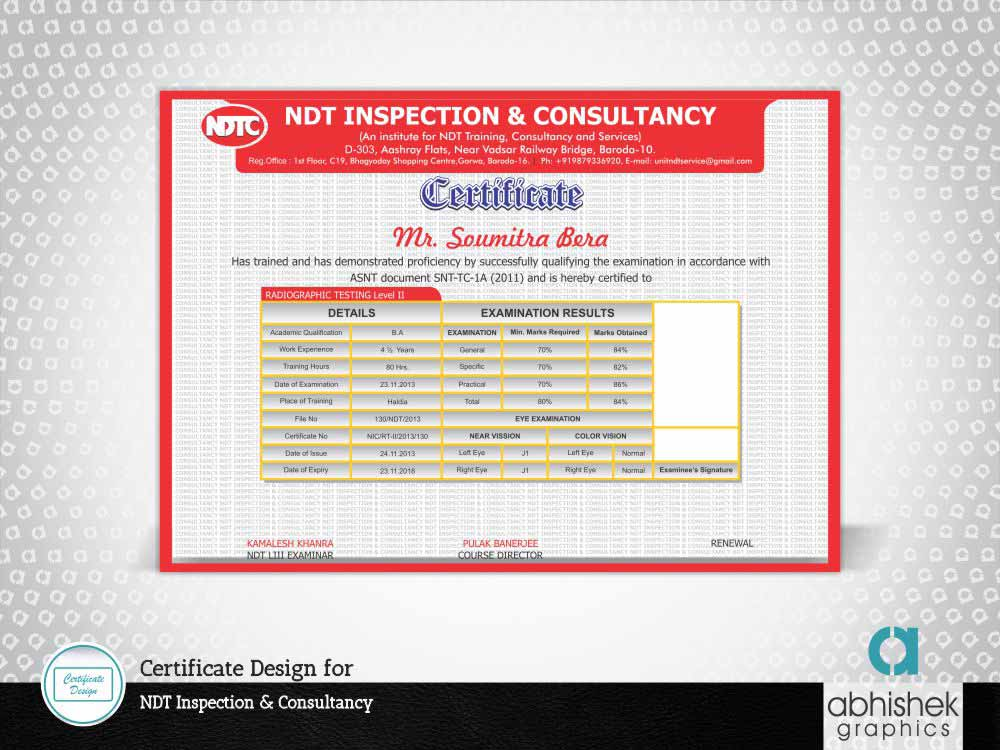 Certificate Design for Inspection Consultancy