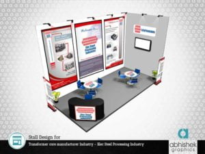 exhibition stall design, stall design, stall design for transformer core manufacturer industry, exhibition stall design in india